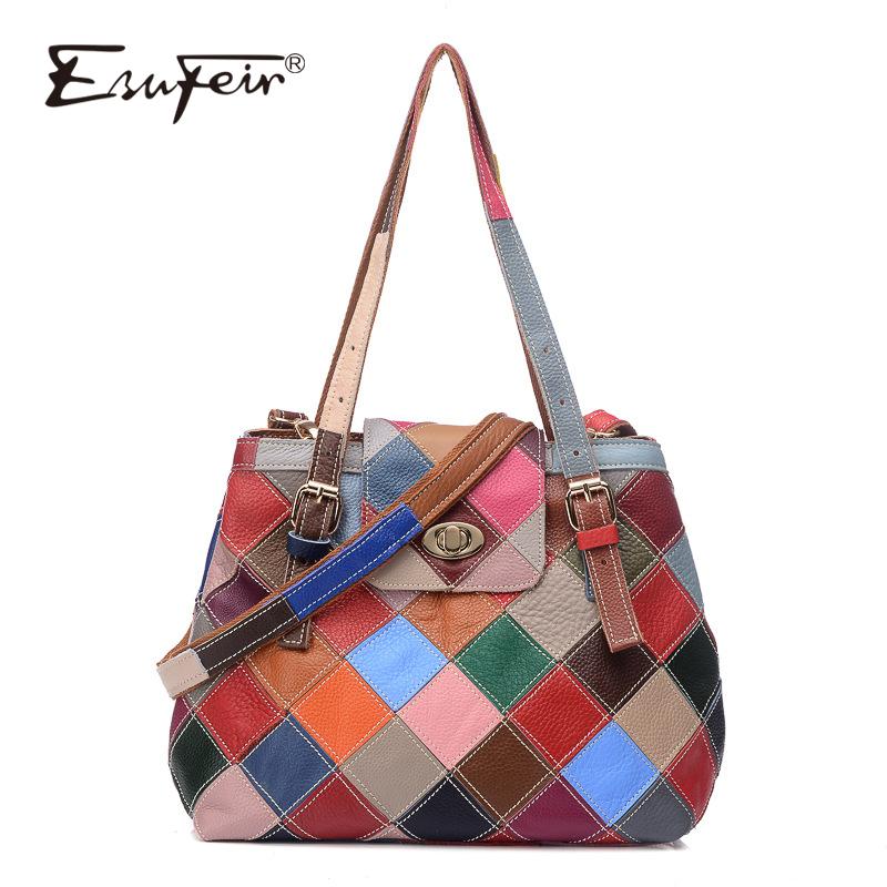 ESUFEIR Patchwork Genuine Leather Women Shoulder Bag Handbag Multicolor Leather Stitching Messenger Bag Fashion Brand Bucket Bag new brand genuine leather women bag fashion retro stitching serpentine quality women shoulder messenger cowhide tassel small bag