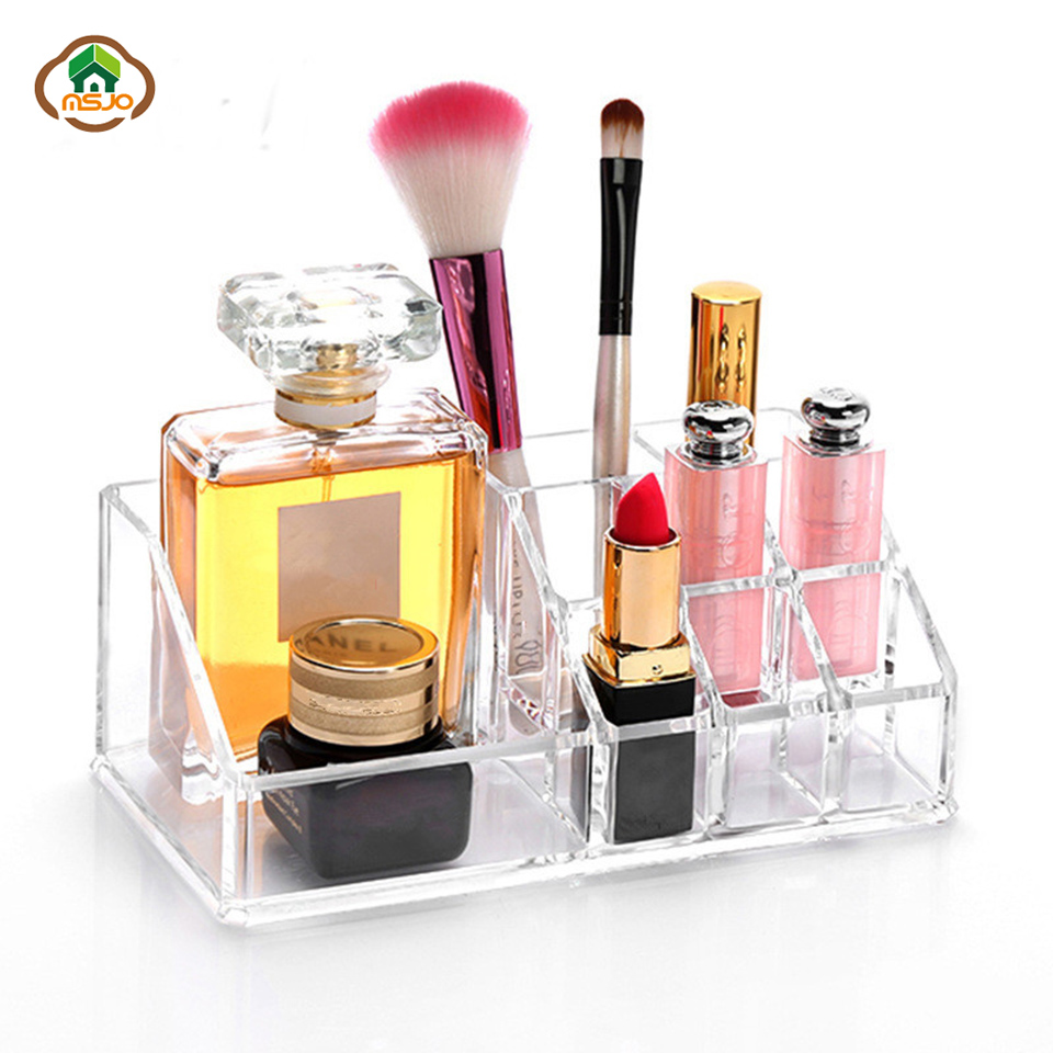Msjo Acrylic Makeup Organizer Clear Nail Polish Display Holder Cosmetic Skin Care Cabinet Lipstick Brush Organizer Storage Box