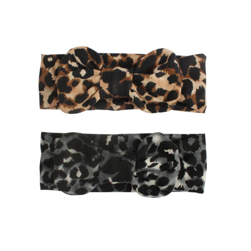 KLV New Hot Printing Stretch Cloth Leopard Bow-knot Children Headband Baby Hair Band Headwear