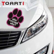 Colorful Dog Paw Footprint PVC Car Sticker Who Rescued Funny Quote Decal Cartoon Styling Decals Waterproof Auto Stickers