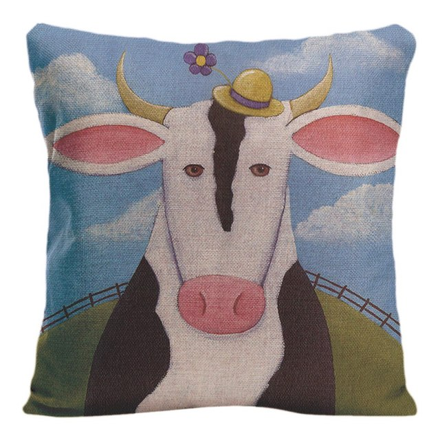 Cotton Linen Cute Pig Cushion Cover Decorative Pillow For Sofa Car Covers Cow Sheep Pillow Case Animal Home Decor Pillowcase