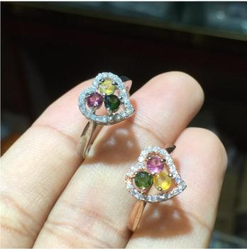 Love Heart Tourmaline ring Natural real tourmaline ring 3mm *3pcs gemstone  925 sterling silver Ring For Men Or Women