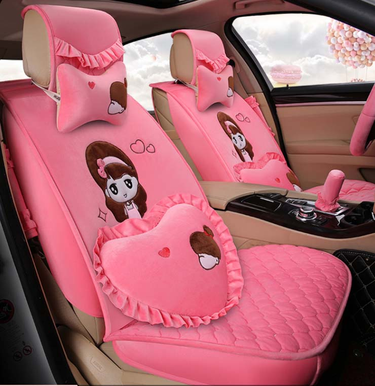 5 Pieces Set 2016 New Arrival Women Car Seat Covers Cushion Girls Pink Lace Lady Cartoon Plush Cover