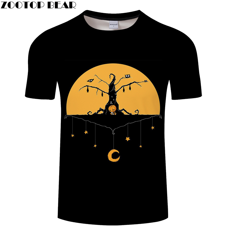 Jack Prints tshirt Men t shirt Drop Ship Top Tee Black t-shirt Short Sleeve Camiseta Halloween shirts Brand Tees ZOOTOP BEAR