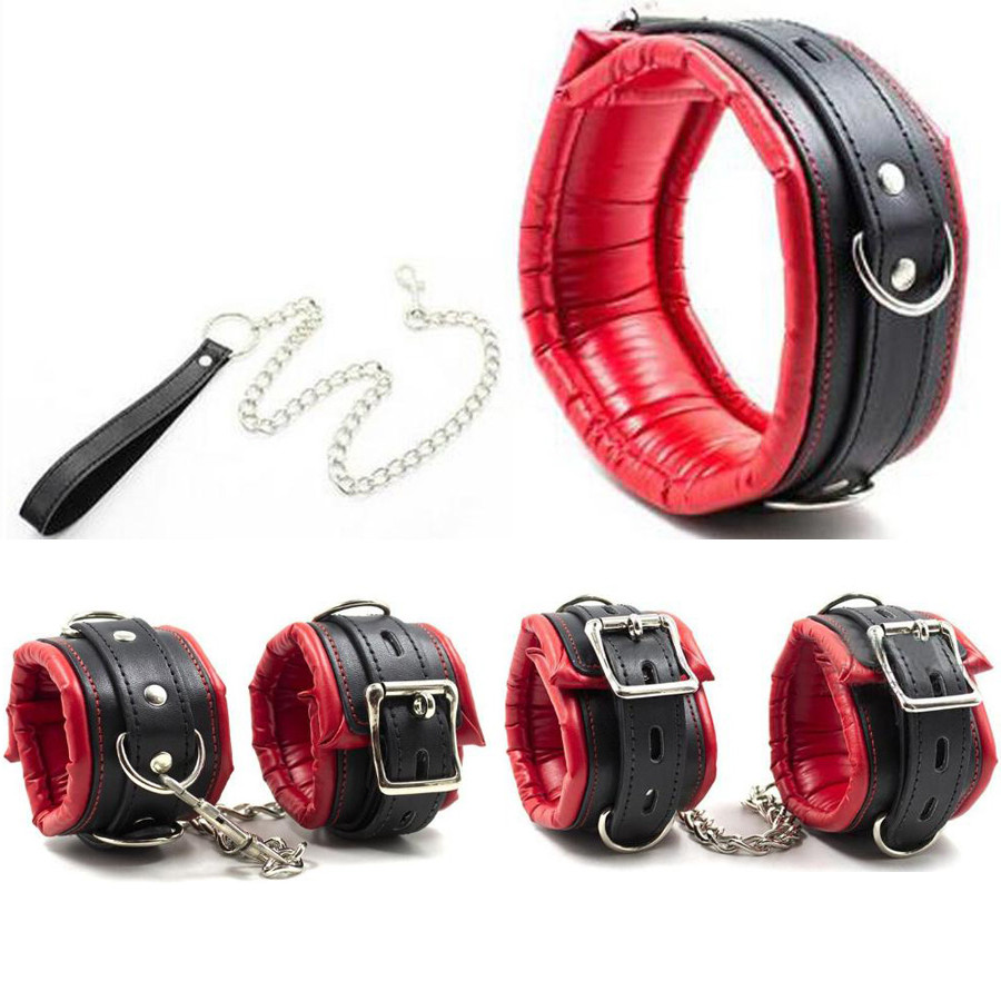 Soft Padded <font><b>Bdsm</b></font> Bondage Set Fetish Sex <font><b>Slave</b></font> Neck <font><b>Collar</b></font> With Leash Hand Wrist Cuffs Ankle Cuffs Restraint Sex Toys For Coup image