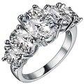 Luxo branco Sapphire 925 sterling prata anéis de casamento jóias para mulheres belas simulado anel de noivado 6 / 7 / 8 / 9