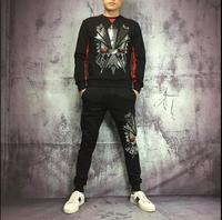 New Slim Tracksuit Skull Drilling Long Sleeved Cardigan Hooded Fashion Women And Men Suit