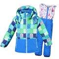 Mioigee 2018 niño niña traje de esquí impermeable a prueba de viento chaqueta con capucha + pantalón 2 piezas juegos al aire libre cálido niños Snowboard niños ropa