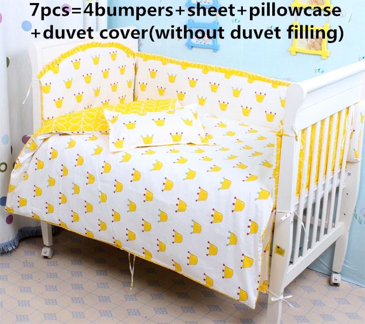 Promotion! 6/7PCS crib bed linen baby Bedding set pillow case, 120*60/120*70cm