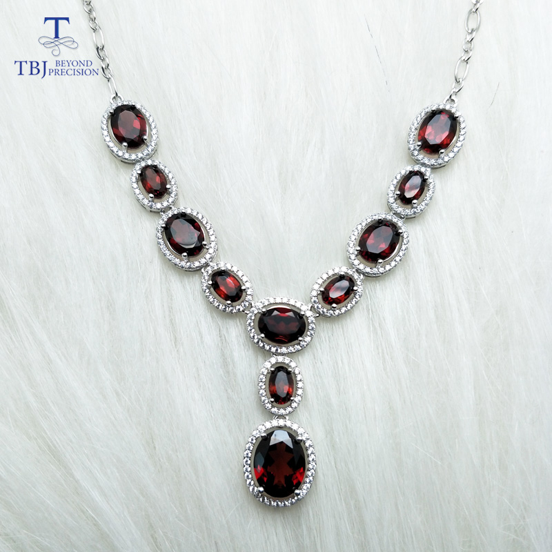 TBJ, Luxury Necklace for party with natural red garnet gemstone fine jewelry in 925 sterling silver with gift box party queen 2 3mm red natural agate necklace multi layers 925 sterling silver with real pearl fine womne jewelry wedding party necklace