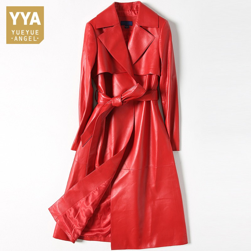 71c6e80ce4f Rouge Printemps De Automne Grande Ceinture Manteau Solide Luxe Costume Long  Peau Cuir Mouton Red Femelle ...
