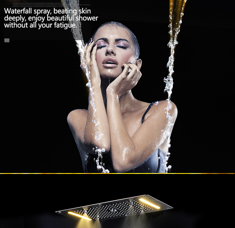 Luxury Shower Set Accessories Ceiling Multifunction Led Strip Shower Head Set with Rainfall Waterfall Spray Mist Water Column (10)