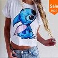 De las mujeres del verano t shirt Lilo & Stitch pattern print lindo femininas camiseta blusa entallada de manga corta 2015 nuevos atractivos femeninos tops Camisetas