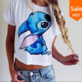 summer women t shirt Lilo&Stitch pattern print cute femininas camiseta short sleeve crop top 2015 new sexy female tops T-shirts