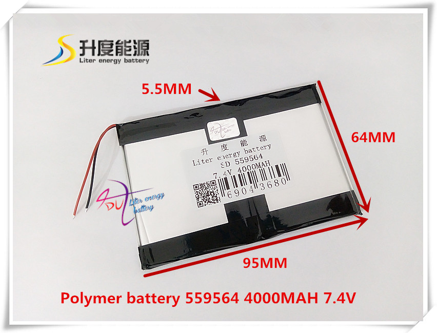 <font><b>7.4V</b></font> <font><b>4000mAH</b></font> 559564 Polymer lithium ion / Li-ion <font><b>battery</b></font> for POWER BANK tablet pc mp3 mp4 cell phone speaker image