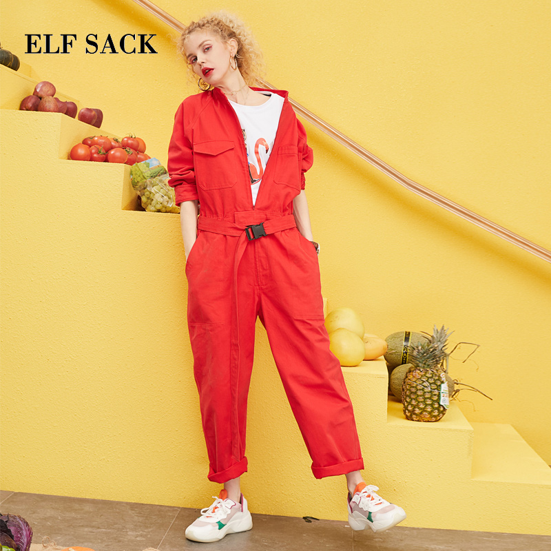 ELF SACK 2019 Spring New Woman   Jumpsuits   Solid Casual Ladies Full Length Loose High Waist Femme Rompers Oversized   Jumpsuits