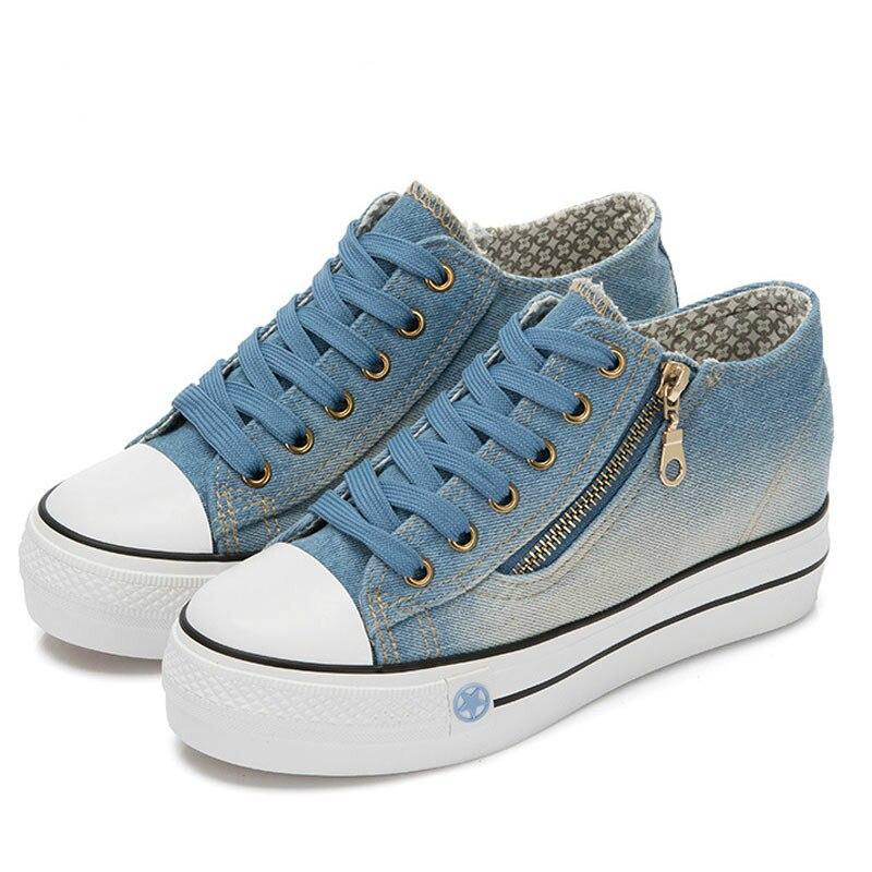 SWYIVY Denim Canvas Shoes Sneakers Woman 2019 Autumn Blue Platform Sneakers Women Vulcanize Female Shoes Casual Women Sneaker