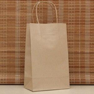 Image 2 - Sac cadeau en papier kraft à la mode, 40 pièces, sacs pour courses, sac demballage brun de noël, excellente qualité 21x15x8cm
