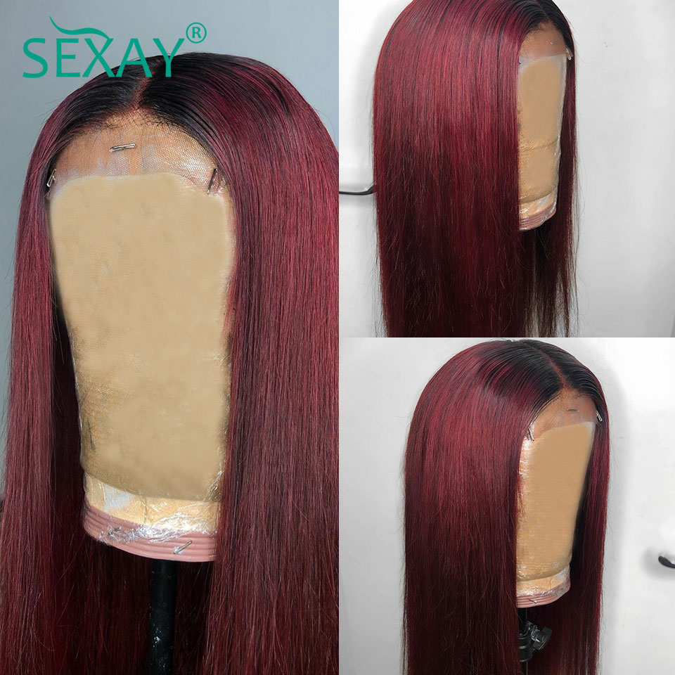 SEXAY 4x4 Lace Closure Wig 8-28inch Ombre 1b99j Burgundy Remy Hair Lace Wig Straight Lace Front Human Hair Wigs For Black Women (17)