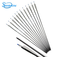 20pcs Archery Pure Carbon Arrows Removable ID 6.2mm Turkey Feather Arrow Fit For Outdoor Practicing Shooting Hunting Accessories