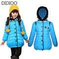 Дети зимние пальто для девочек пальто ребенок куртка теплая верхняя одежда для детей одежда сгущаться девушка хлопка-ватник 4-12 лет