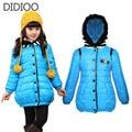 Los niños abrigos de invierno para niñas espesar parka outwear abrigo para niños ropa de abrigo niño niña chaqueta de algodón acolchado 4-12 años