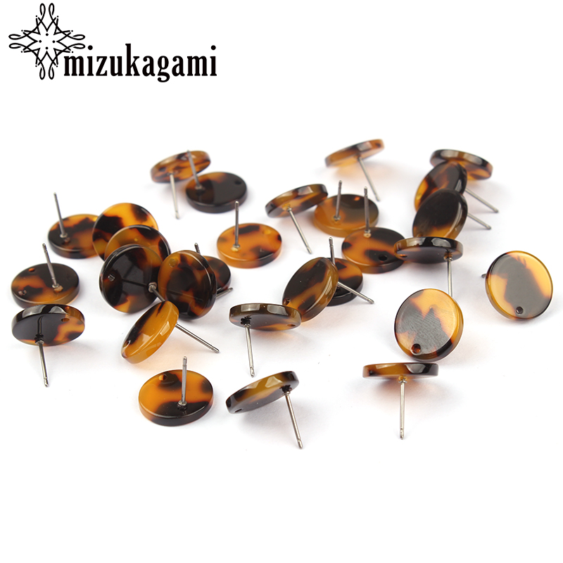 14mm 6pcs/lot Acetate Resin Tortoiseshell Round Base Earrings Connector For DIY Earring Making Jewelry Accessories