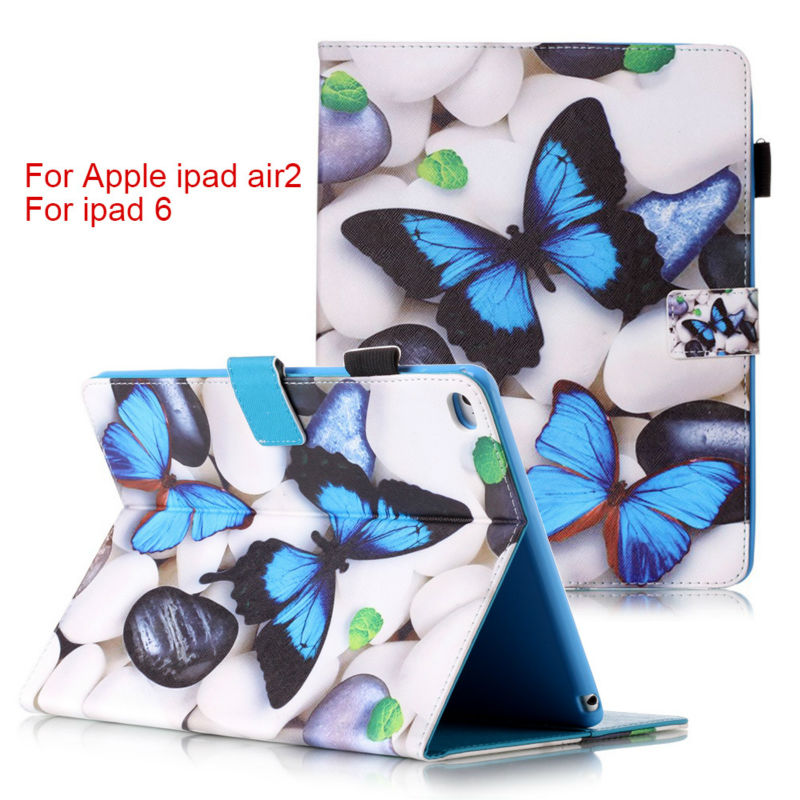 Fashion Magnetic stand pu leather cover case For Apple iPad Air 2 for Pad 6 funda Tablet cases + Screen Protector+ stylus pen