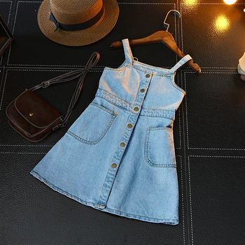 2018 New Summer Item Girl One Piece Jeans DRESS Suspender Denim Dress Tops & Tees