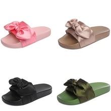 Pink Silk Bow Slippers Satin Fashion Slides Women Summer Sandals Chinelo Lovely Beach Shoes Rihanna Casual Flip Flops Trendy Hot