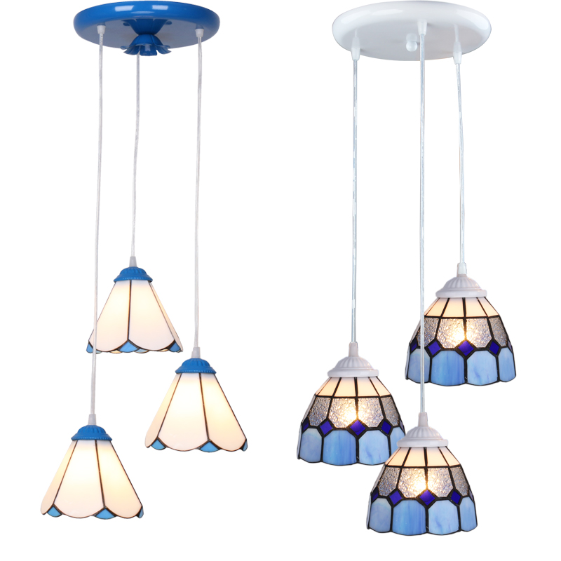 3 Heads Colorful Glass LED Pendant Lamps Light,Bedroom
