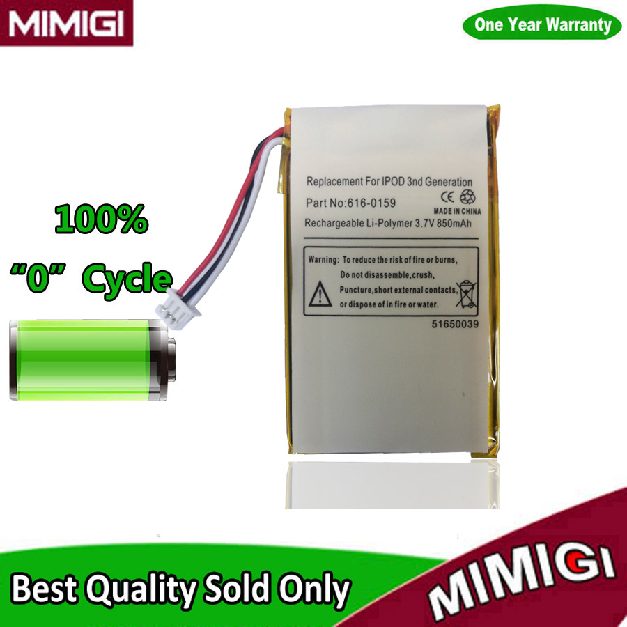 Remplacement d'origine 850 mAh 616-0159 Batterie pour Apple iPod 3 3G Gen 3rd génération A1040 Batterie d'accumulateur AKKU AKU Accu