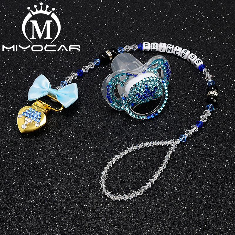 MIYOCAR Personalized Name Bling Bling Crown Pacifier Clip Pacifier Holder Dummy Clip With Bling Crown Pacifier Set UniqueSP011