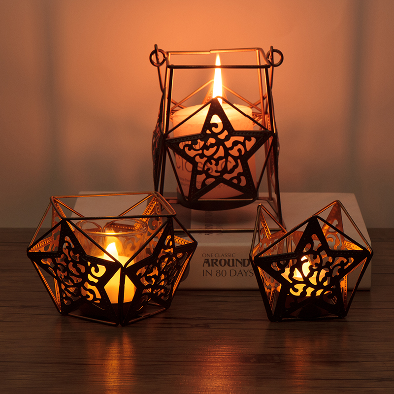 Romantic Wrought Iron Candle Stars Lantern Candle Dinner Props