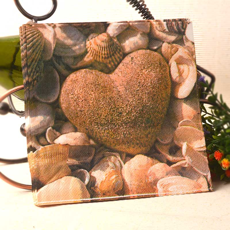 Heart shaped stone shell Paper Napkins Cafe & Party Tissue Napkins Decoupage Decoration Paper 33cm*33cm 20pcs/pack/lot