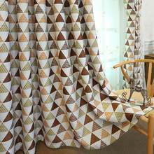 Nordic style Geometry pattern Curtain High shading polyester Balcony bedroom window curtain custom made