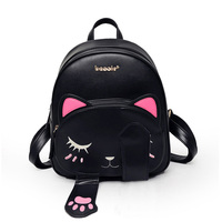 EnoPella Cat Backpack Black Preppy Style School Backpacks Travel Back Pack Funny Quality Pu Leather Fashion
