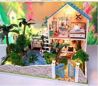 Creative Valentine's Day GIFT 2 floors dream Garden house DIY Miniature Model Kit with dustproof simulation House,Big Size