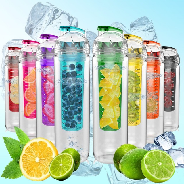 AVOIN colorlife 800ml Sport Fruit Infuser Water Bottle BPA free Plastic Drinking My bottle Outdoor Gym Camping Christmas Gift