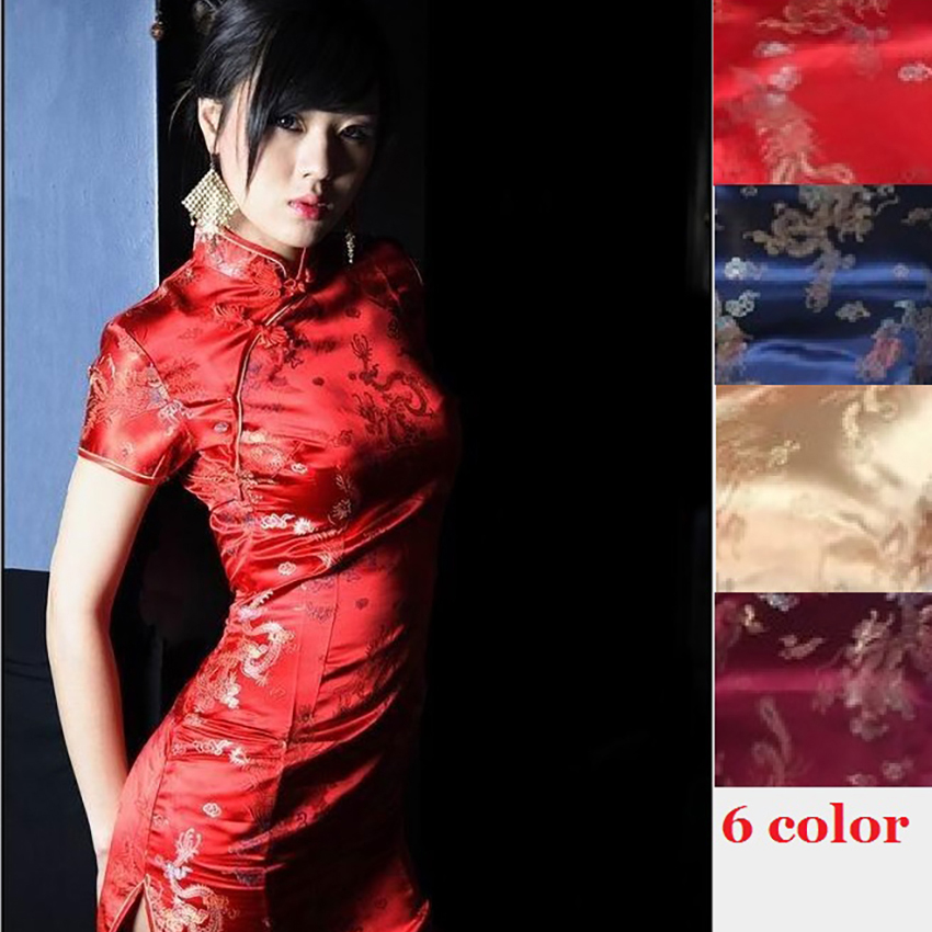 6colors Red Sexy Gown Chinese Style Clothes Dragon&Phoenix Gown Bow knot Knee Length Dress for Women Burgundy Elegant Cheongsam