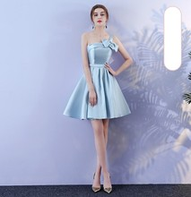 Blue Color Above Knee Mini Dress  Elegant Dress Women for Wedding Party  Bridesmaid Dresses blue v neck women wedding party dress above knee mini dress satin bridesmaid dress back of bandage