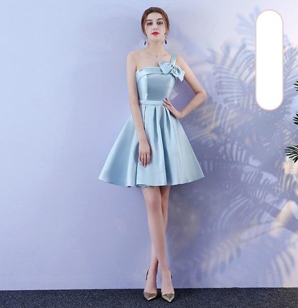 Blue Color Above Knee Mini   Dress   Elegant   Dress   Women for Wedding Party   Bridesmaid     Dresses