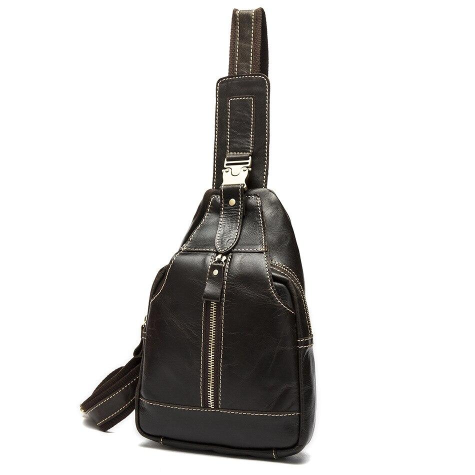 Vintage décontracté mode poitrine Pack pour hommes peau de vache petit fronde sacs à bandoulière Designer rétro en cuir véritable sac de luxe sacs à main