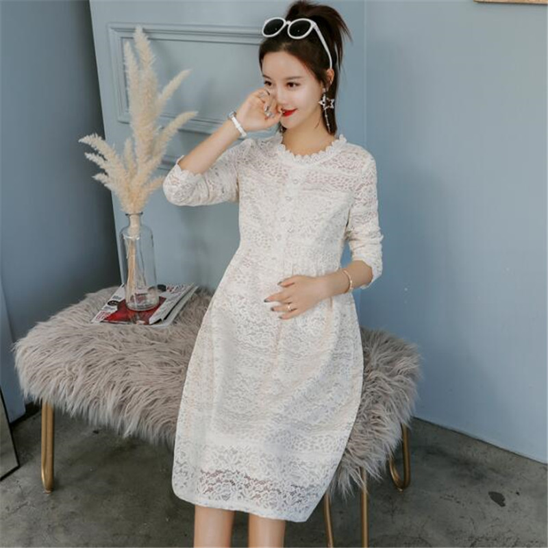 SexeMara 2018 New Style Fashion Maternity Clothes Dress For Pregnant Mommy Spring&Autumn Women Lace Dress Skirt Soft Material