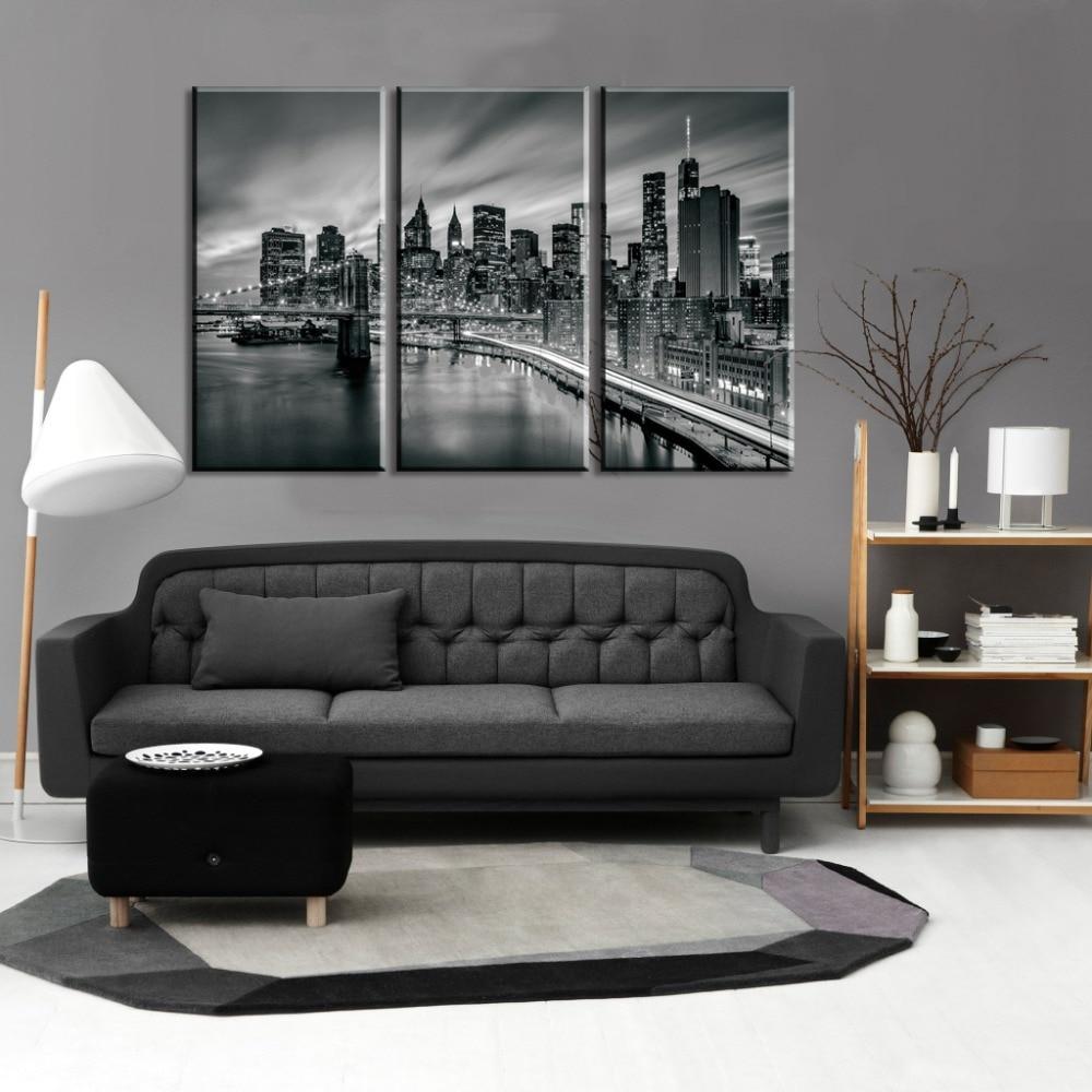 3 piese orașul New York Tablouri modulare pictură pe pânză Artă - Decoratiune interioara - Fotografie 2