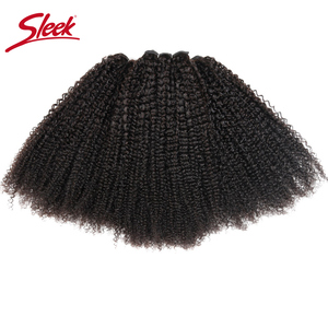 Image 2 - Sleek Afro Kinky Wave Curly Hair 100% Remy Brazilian Human Hair Weave Bundles Natural Color 1 Piece Free Shipping 10 28 Inches