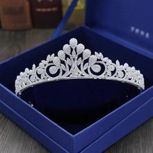 Full Zircon Leaf Tiara Copper Zircon Tiaras Micro Pave CZ Bride Crown Wedding Hair Jewelry Diadem Mariage Bijoux Coroa WIGO1042