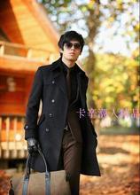 Black grey Double-breasted 2016 high quality men jackets man's coat thicken warm men's wool coats mens gray pea coat S – 3XL