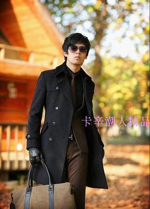 Double breasted woolen coats men casual clothes man s high quality coat thicken warm gray black