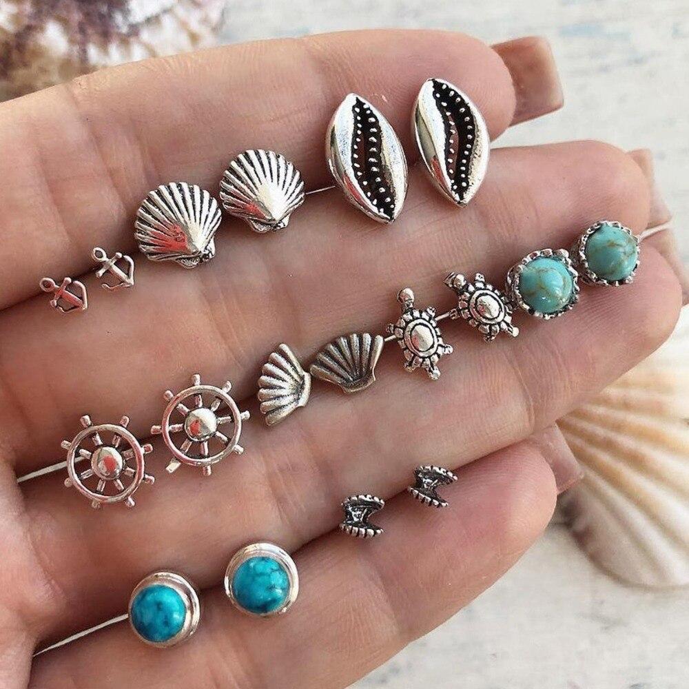 2652198f88313 US $0.76 16 Styles Boho Shell Turtle Anchor Small Stud Earrings Set ...